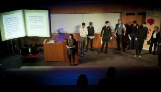 Long shot of the 'Rememberance Sunday' event at Huddersfield Literature Festival