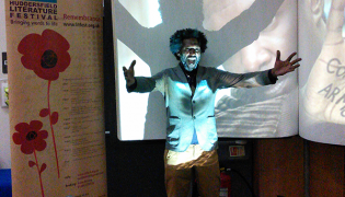 Codex Notepad with poet Lemn Sissay and shadow